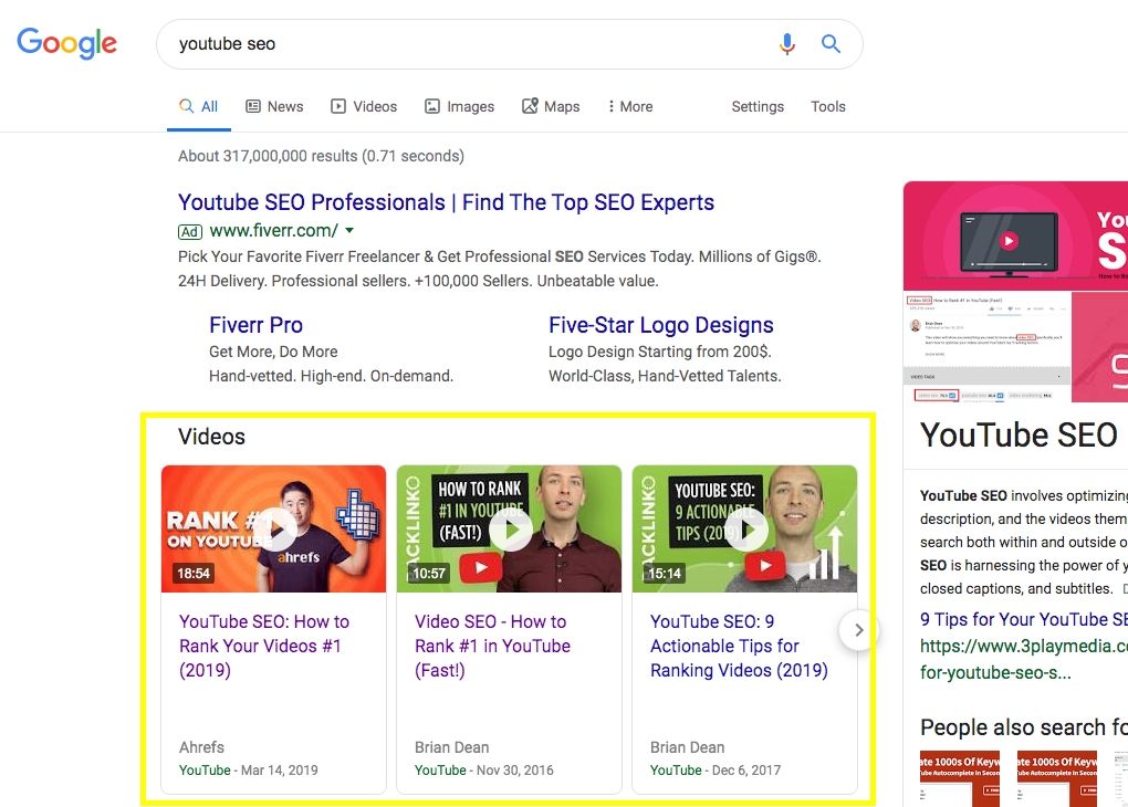 Video Search Rankings on Google