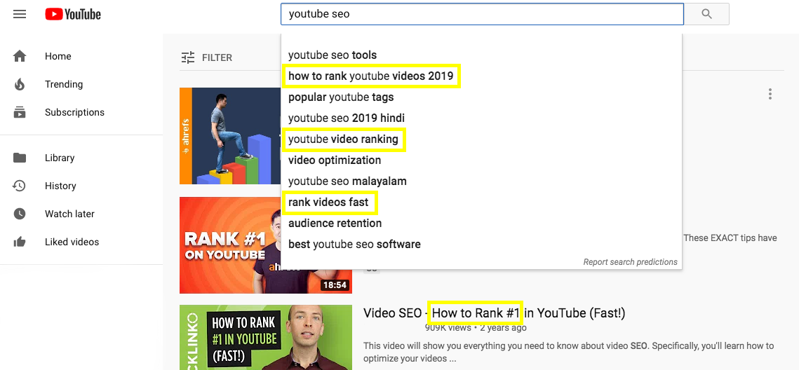 YouTube SEO Search Results
